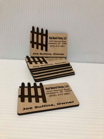"3.5""x 2. Wooden Business Cards"