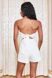 Self Tie Back Playsuit in White