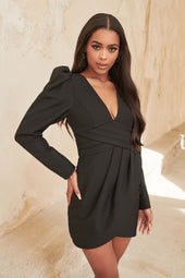 Pleated Waist Wrap Mini Dress in Black