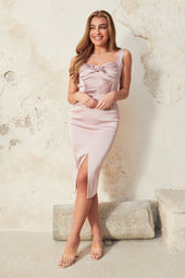 Tie Back Midi Dress in Dusty Lilac Pink
