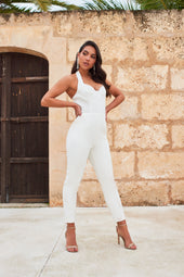 Underwired Bustier Halter Neck Jumpsuit in White
