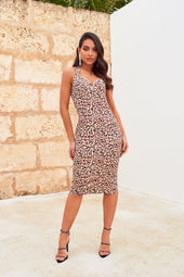 Underwired Bustier Satin Midi Dress in Leopard Print