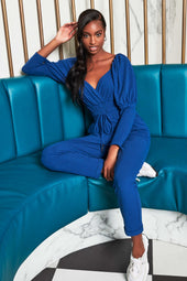 Patricia Bright Puff Sleeve Jogger Jumpsuit in Blue