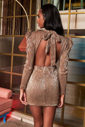 Rosie Connolly Open Back Sequin Mini Dress With Bow Detail in Gold