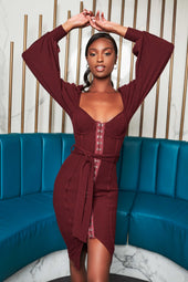 Patricia Bright Balloon Sleeve Rib Knit Midi Dress in Burgundy