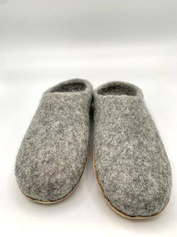 Felted Wool Slippers Gray