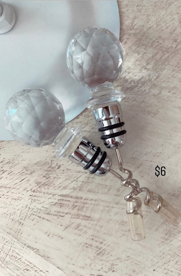 Crystal Clear Bottle Wine opener/stopper