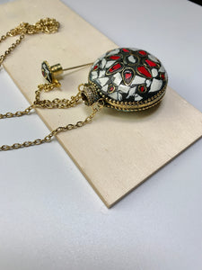 Mosaic Round Perfume Holder Necklace - White