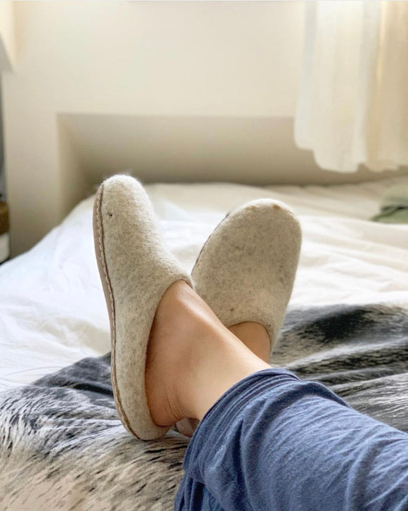 Felted Wool Slippers - White