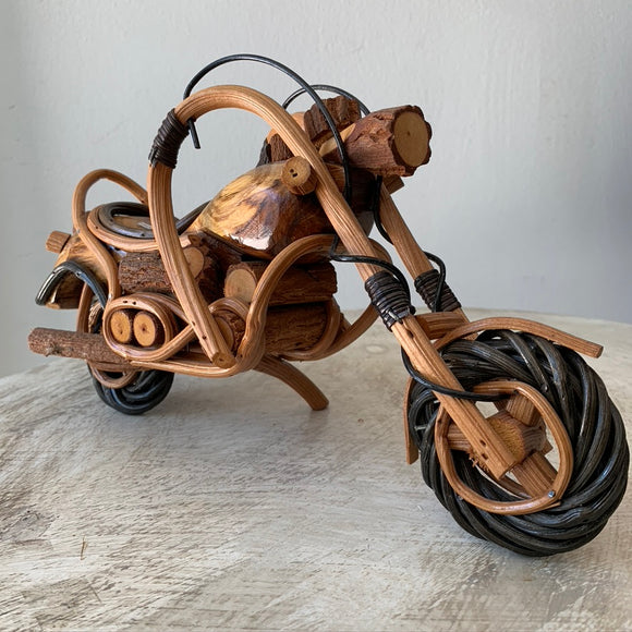 Handmade Wood and Rattan Motorcycle