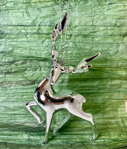 Metallic Silver Reindeer Ornament