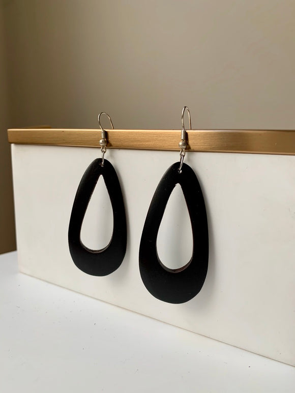 Teardrop Wood Hoop Earring