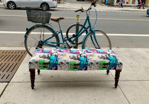 Blue Frida Print Bench
