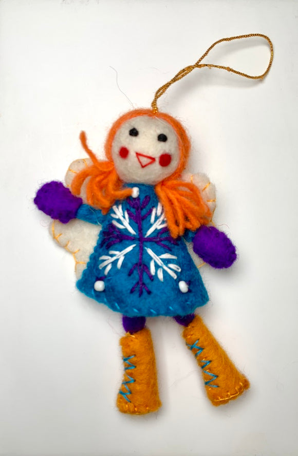 Felt Winter Fairy in a Blue Dress