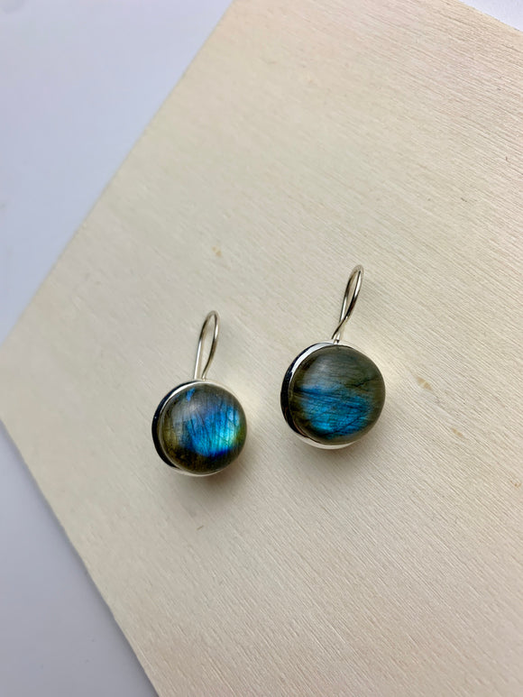 Labradorite Earrings Round