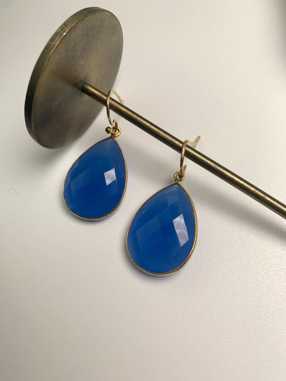 Reina Earrings- Cobalt Blue Chalcedony