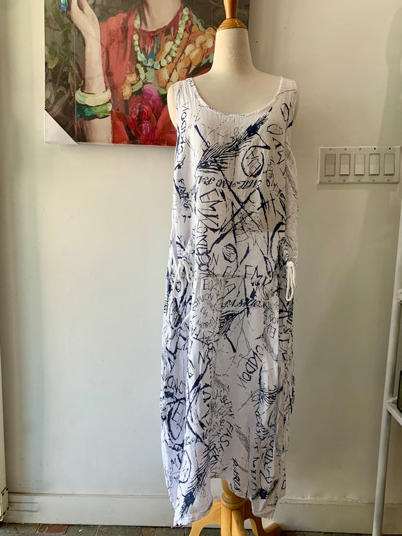 Graphic Print Linen Dress