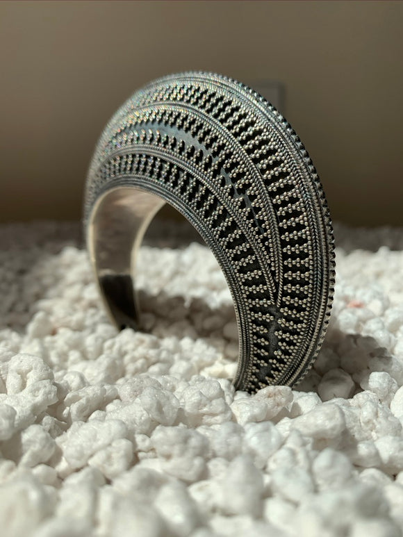 Silver Rounded Pointillism Cuff