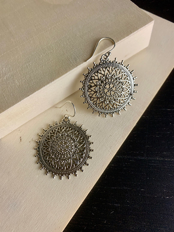 Round Filigree Lace Earrings