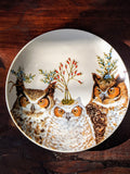"Holiday Hoot  Owl 7"" Round Appetizer Plate"