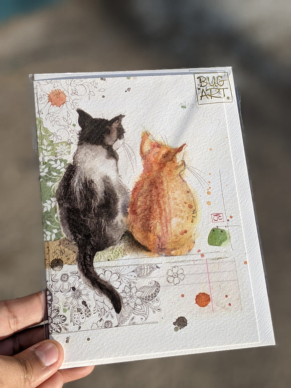 Two Kittens Watercolour Card