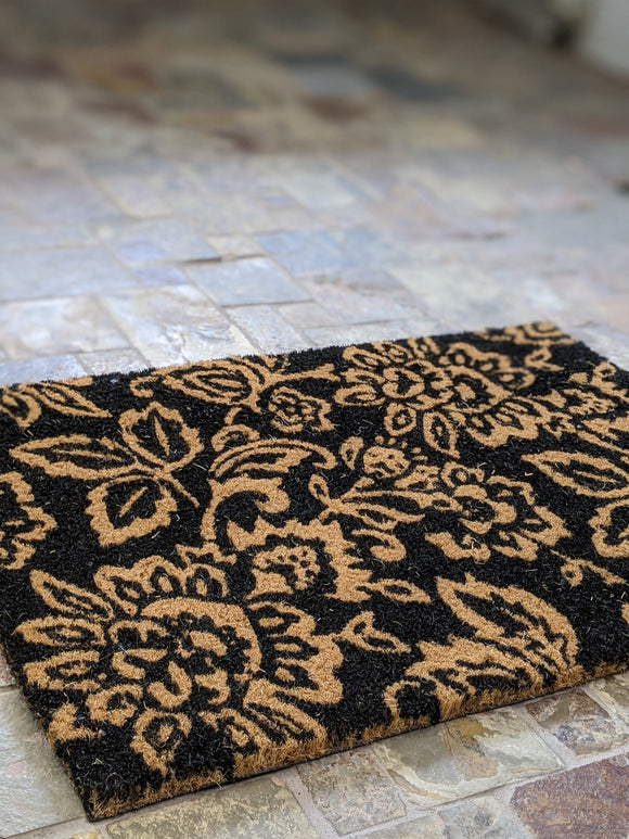 Black Floral Pattern Doormat