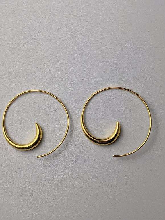 Gold Plated Spiral Hoop - Large