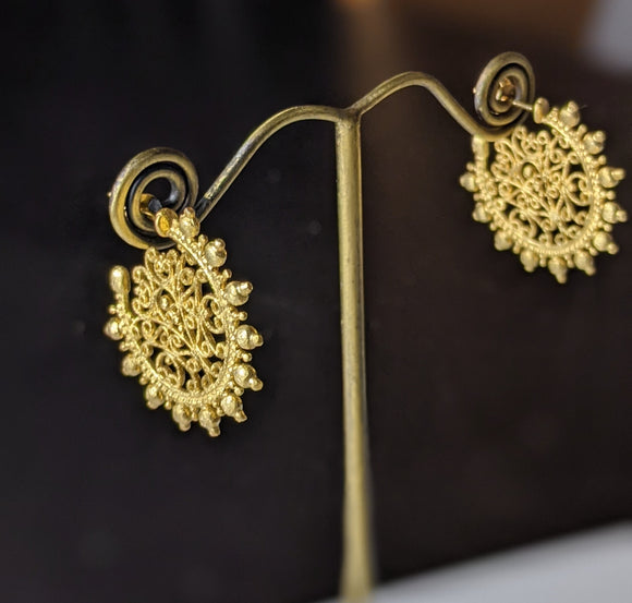 Gold Lace Hoops- Gold Plated