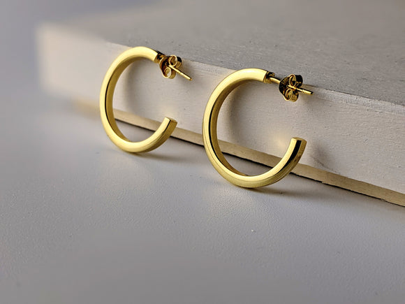 Square Cut Gold Plated Hoop