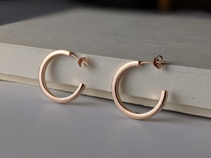 Rose Gold Plated Square Cut Hoop
