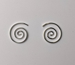 Silver Spiral Hoop Earrings- Small
