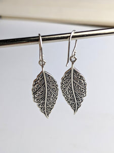Silver Filigree Leaf Earrings