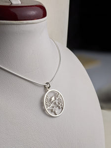 Birds on Branches Pendant - Silver