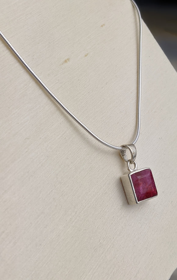 Square Ruby Pendant