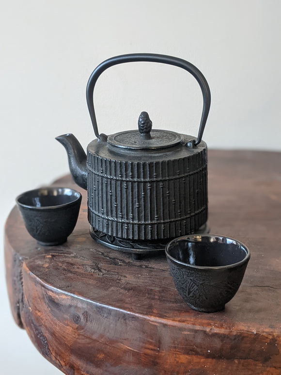Cast Iron Teapot Set Black