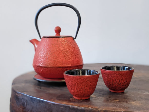 Cast Iron Teapot Set Red