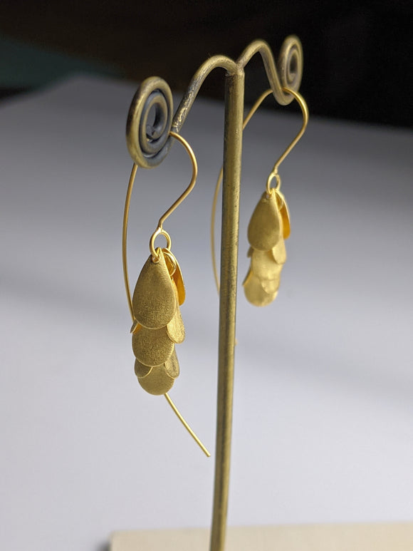 Golden Petal Cluster Earrings
