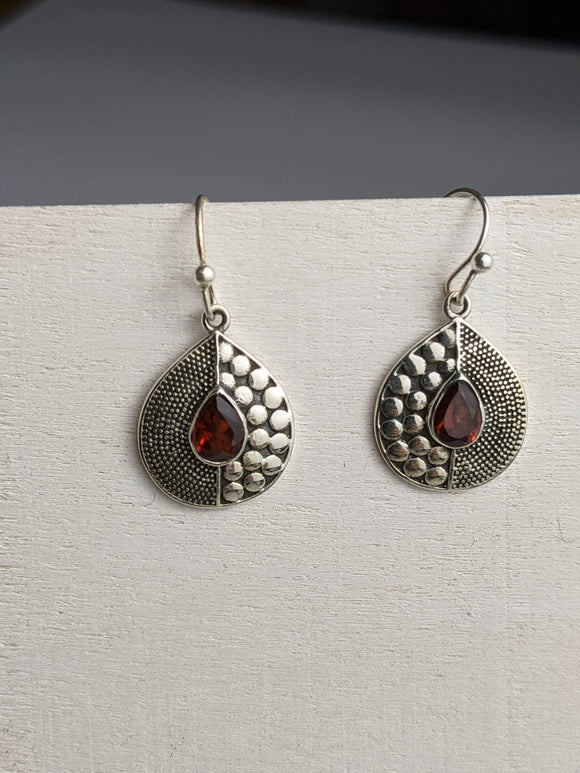 Two face Teardrop Earring- Garnet