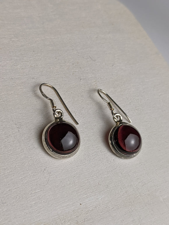 Rondelle Earrings- Garnet