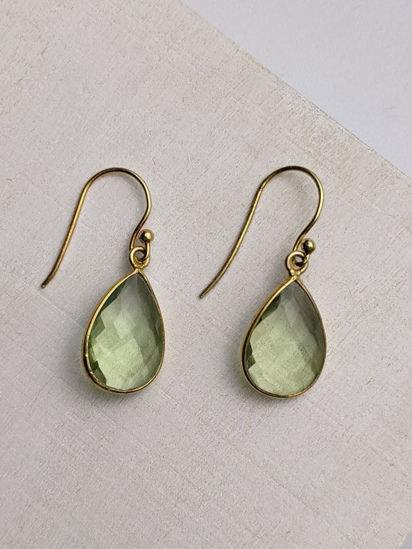 Green Teardrop Crystal- Gold Plated