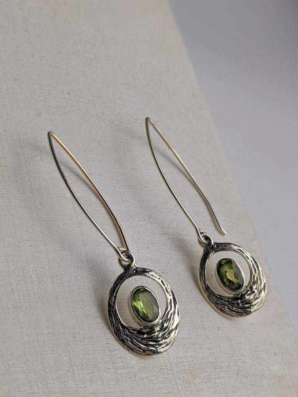 Long Drop Peridot Earrings