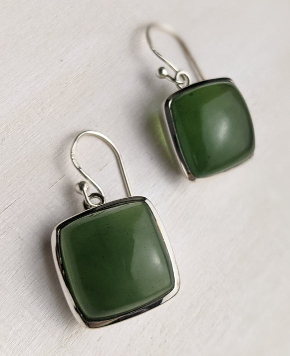 Square Cut Jade Earring