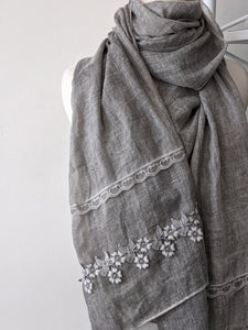 Botanical Lace Scarf- Light Grey