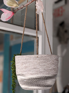 Grey & White Hanging Planter Basket