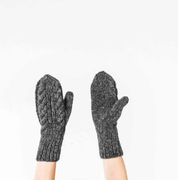 Copy of HAND KNIT ALPACA MITTENS CHARCOAL