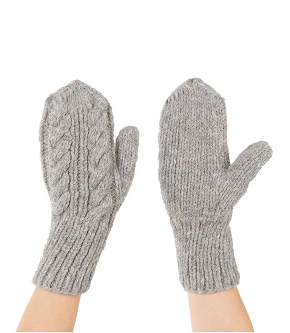 HAND KNIT ALPACA MITTENS STEEL GREY