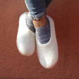 Felted Wool Slippers White