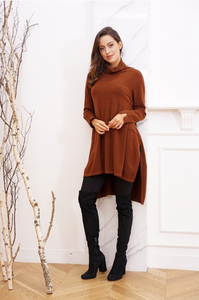 High-Low Side Slit Cowl Neck Tunic
