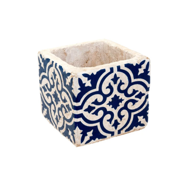 Santorini Tile Succulent Pot Planter Navy