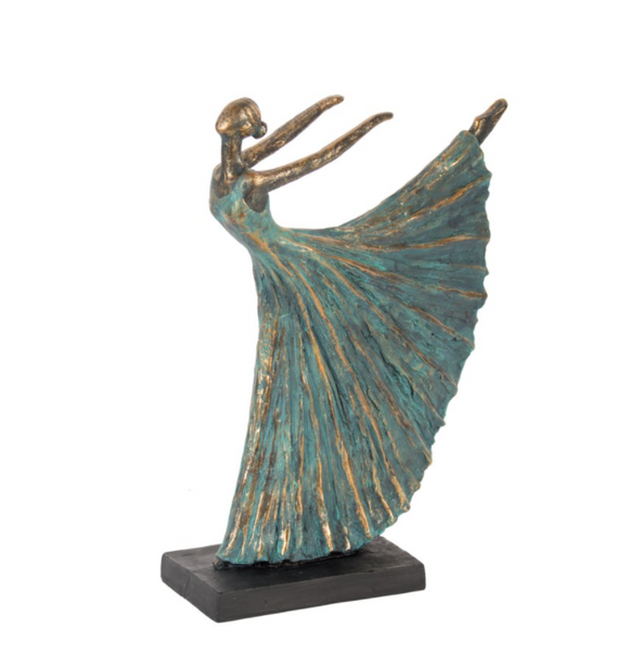 Dancer Figurine  Gold/Green
